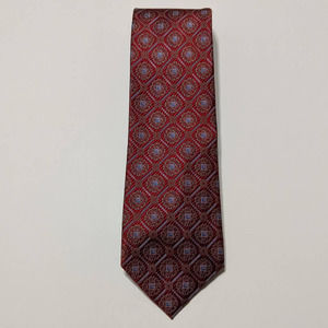Jos A Bank Red Blue Geometric Silk Necktie